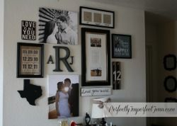 Perfectly Imperfect: Love Gallery Wall  Too cute!! Gotta use some of these ideas on my picture wall