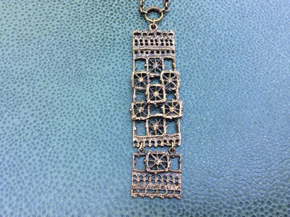 "#forsale > Pentti Sarpaneva for Turun Hopea (FI), ""Pitsi"" (Lace) vintage bronze hinged pendant, 1970s. #finland   finlandjewelry.com"
