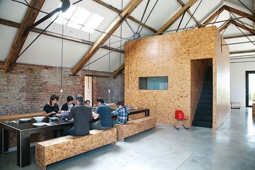 chipboard, bench seat, communal table, black timber combination, hanging pendants