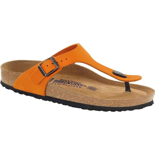 Birkenstock Women's Gizeh Soft Footbed Orange Nubuck Thongs &... ($135) ❤ liked on Polyvore featuring shoes, sandals, flip flops, orange, thong sandals, birkenstock flip flops, flat thong sandals, thick flip flops and orange thong sandals
