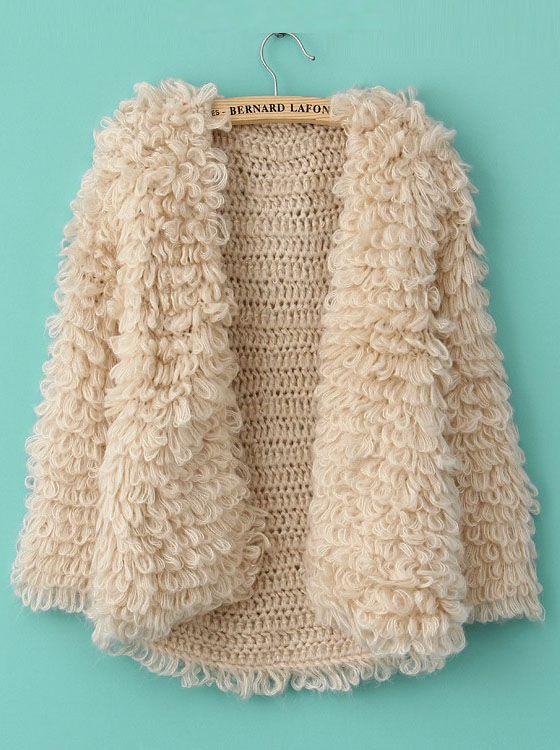 LOVE THIS!http://www.sheinside.com/Khaki-Long-Sleeve-Shaggy-Slim-Cardigan-Sweater-p-144474-cat-1734.html