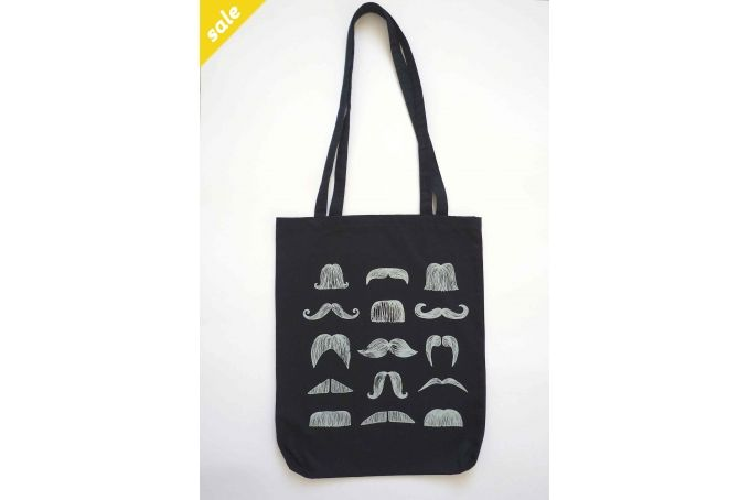 mustache tote bag navy blue by Bow Peep on hellopretty.co.za