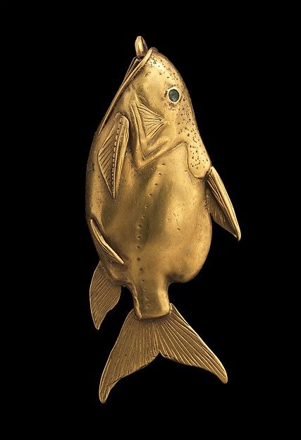 """Fish Pendant (ca. 1878-1749 B.C.). Middle Kingdom, Egypt. Gold over a core of unknown material. The Metropolitan Museum of Art, New York. On loan courtesy of National Museums Scotland 