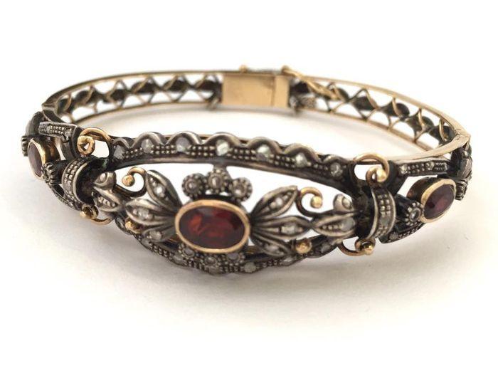 Catawiki Online-Auktionshaus: Antikes Diamantarmband, 750er / 18 kt Gold und Silber, Diamanten etwa 0,80 kt
