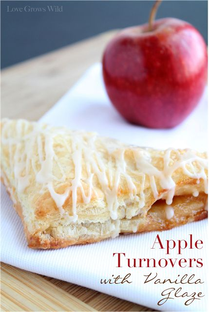 Apple Turnovers with Vanilla Glaze - the perfect breakfast pastry! SO sweet and delicious!   LoveGrowsWild.com