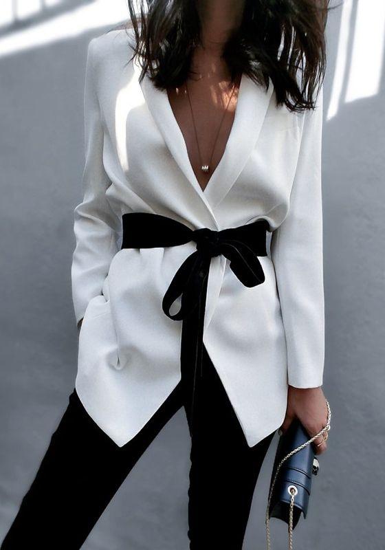 White Sashes Tailored Collar Long Sleeve Fashion Cotton Blazer
