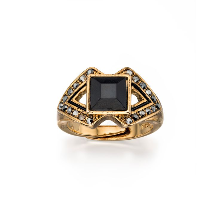 Designer Blackened Gold Crystal & Resin Triangle Ring by Fiorelli - From the new Fiorelli Costume Autumn Winter collection, this statement ring is all about making the ordinary extraordinary. Produced from white or yellow alloy, this piece comes packaged in a beautiful Fiorelli gift pouch: http://ow.ly/XA0T7