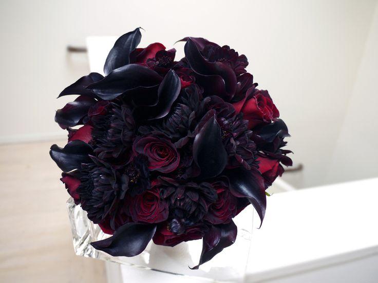 Black Wedding Bouquets | ... bouquet with black baccara roses black cosmos black dahlias and black