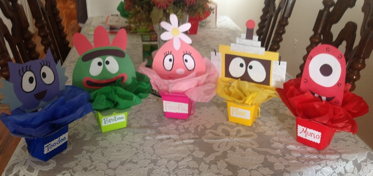 Yo Gabba Gabba! Centerpieces! Made these for my nieces first birthday!