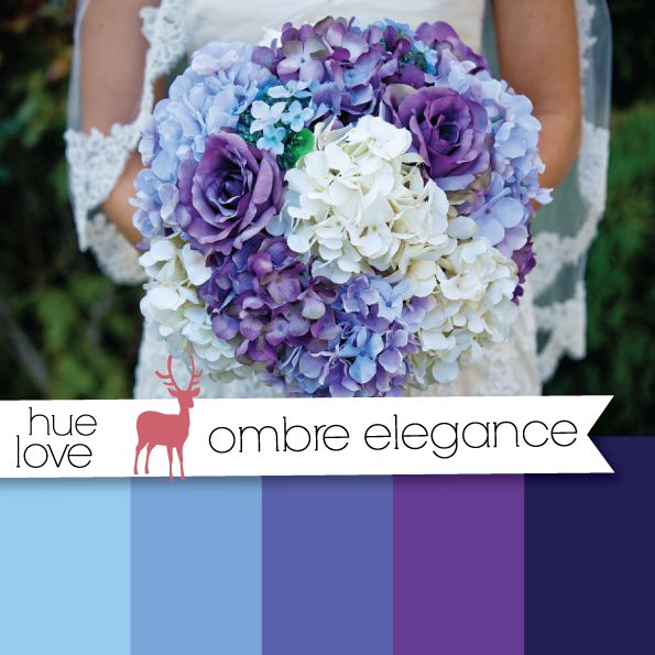 blue and purple ombre wedding bouquet woodlands bride