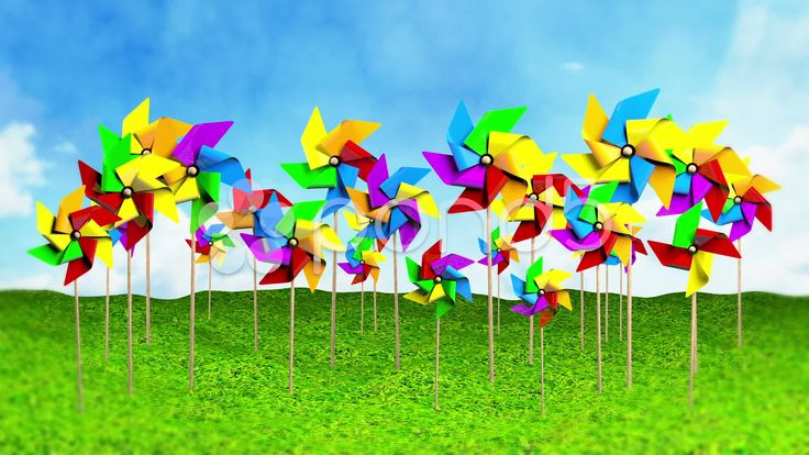 Colored Spinning Pinwheels on the Grass - Stock Footage | by maraexsoft
