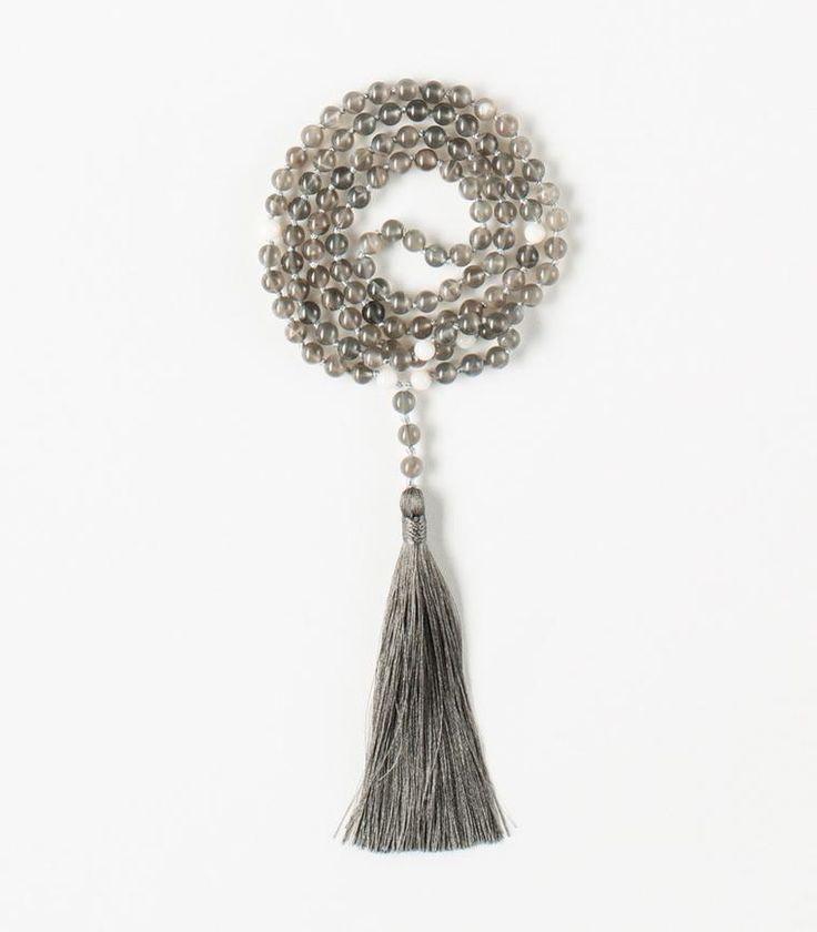 'Inspiration' Mala - 108 Grey Moonstone beads Tibetan Buddhist Mala with White Coral