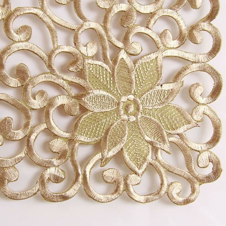 Good work full export gold embroidery embroidered tablecloth table runner doily wholesale shipments : Shandong Yantai