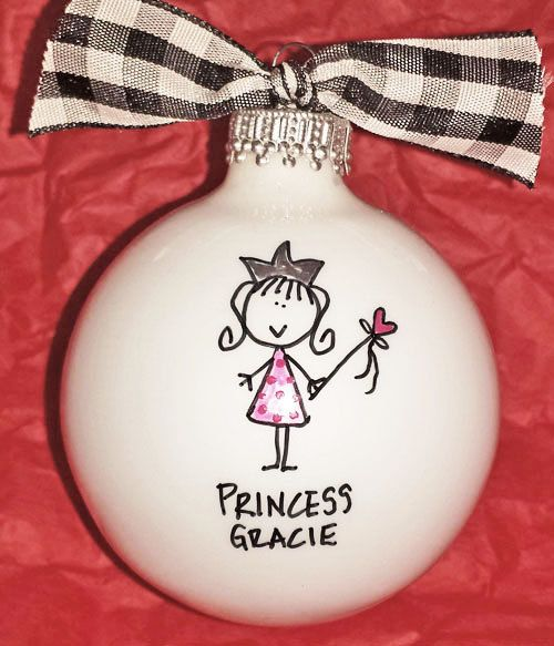 PERSONALIZED PRINCESS ORNAMENT  This adorable little princess ornament can be personalized with her name on the front and 2014 on the back. Sure