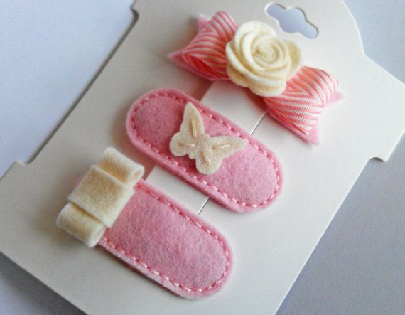 GIRL IN PARIS. Set of 3 Felt Clips. 100 Pecent Wool Felt. Baby. Girls. Toddler. Baby Pink And Vanilla.. $13.45, via Etsy.