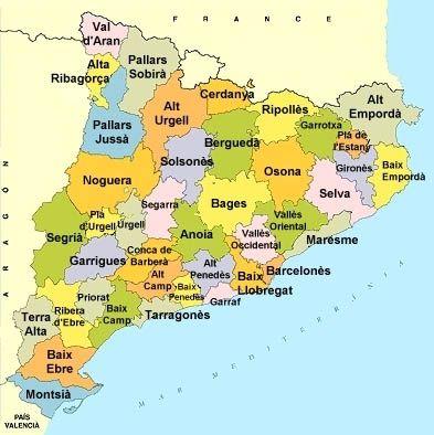 Comarques de Catalunya. cacera del tresor per a quart de primària