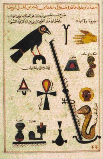 """Alchemy:  Symbols in medieval Arabic #Alchemy, inspired by Egyptian hieroglyphs: """"Kitab al-Aqalim,"""" by Abu 'l-Qasim al-'Iraqi, in the British Library."""