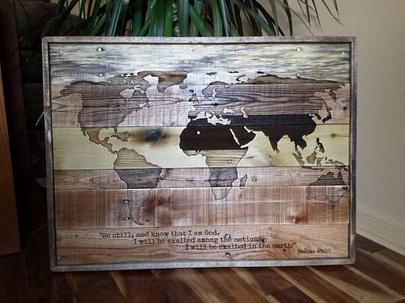 World Map Laser Engraved World Map reclaimed wood map