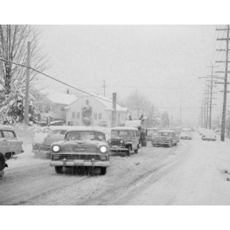 USA Washington Seattle traffic during snow storm Canvas Art - (18 x 24)