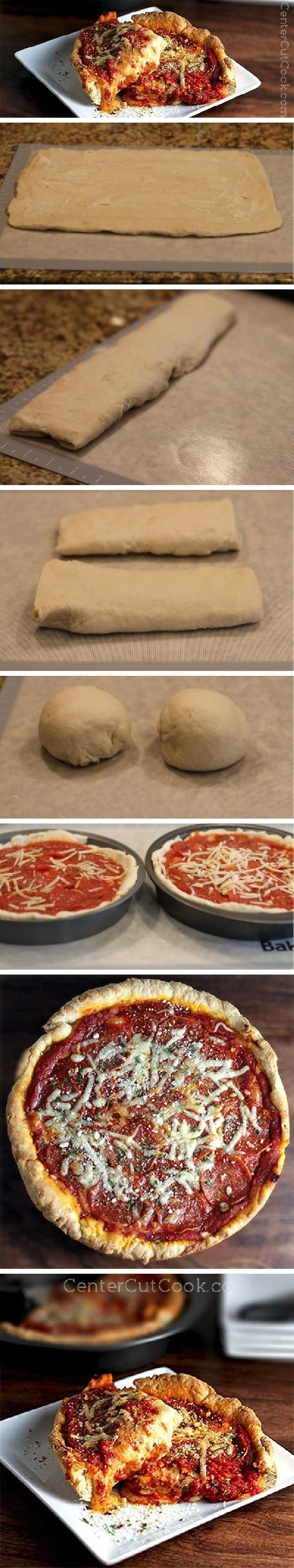 CHICAGO STYLE DEEP DISH PIZZA at home? Who knew? A step-by-step guide on HOW to MAKE this ooey gooey pizza at home!