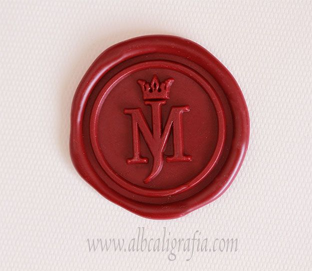 Red sealing wax medallion rwith initials MJ and crown ...