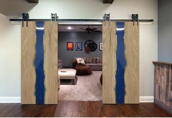 Oak Barn Door With Blue Epoxy Resin Barn Door Glass House House