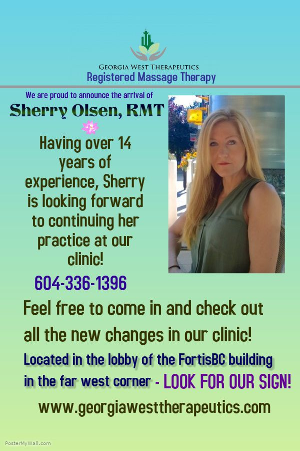 Sherry Olsen, RMT #superRMT is located at Georgia West Therapeutics 103A-1111 West Georgia St Vancouver BC georgiawesttherapeutics.com 604-336-1396