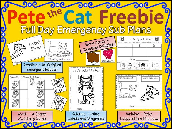 Pete The Cat FREBIE download -- presented as Kinder Sub Plans but could be used at Intro activity during the first weeks of 1st grade