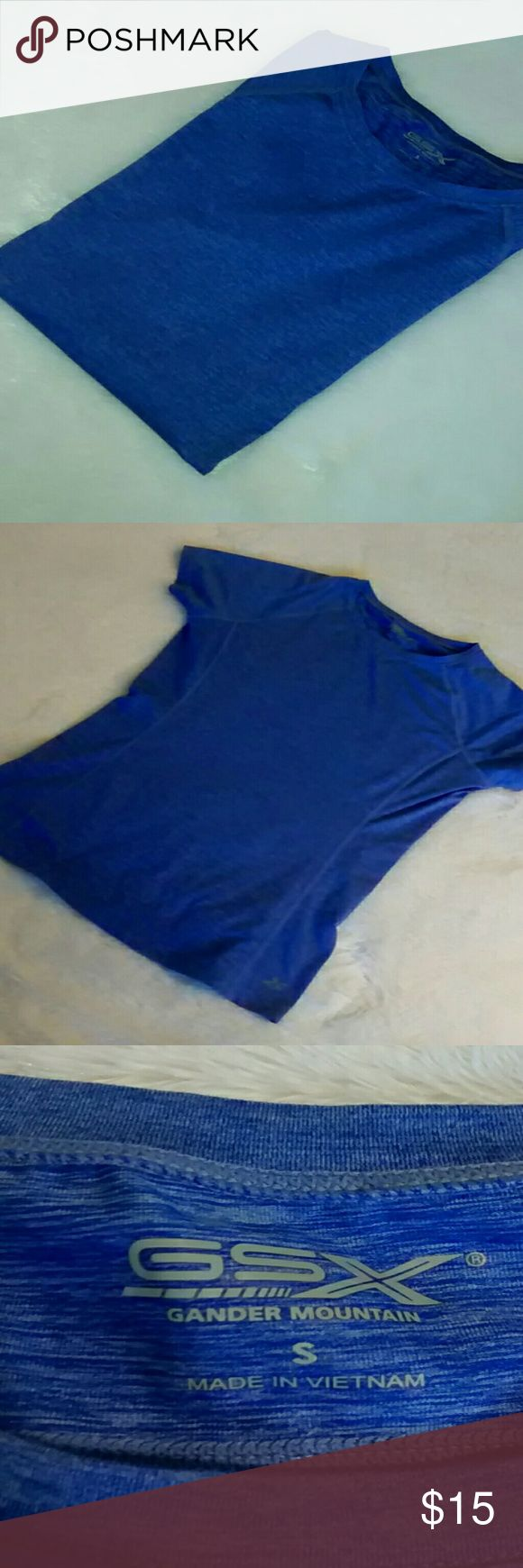 GSX Gander Mountain Workout Top Beautiful blue GSX Gander Mountain.  Brand New with no tags.  Excellent condition.  Plenty of stretch.  Size Small.  88% Polyester.  12% Spandex.  No stains, no holes and no pulls. Love offers! Bundle 2 or more items and save 15% All items come from a smoke/pet free home Fast Shipping! No trades Gander Mountain Tops Tees - Short Sleeve