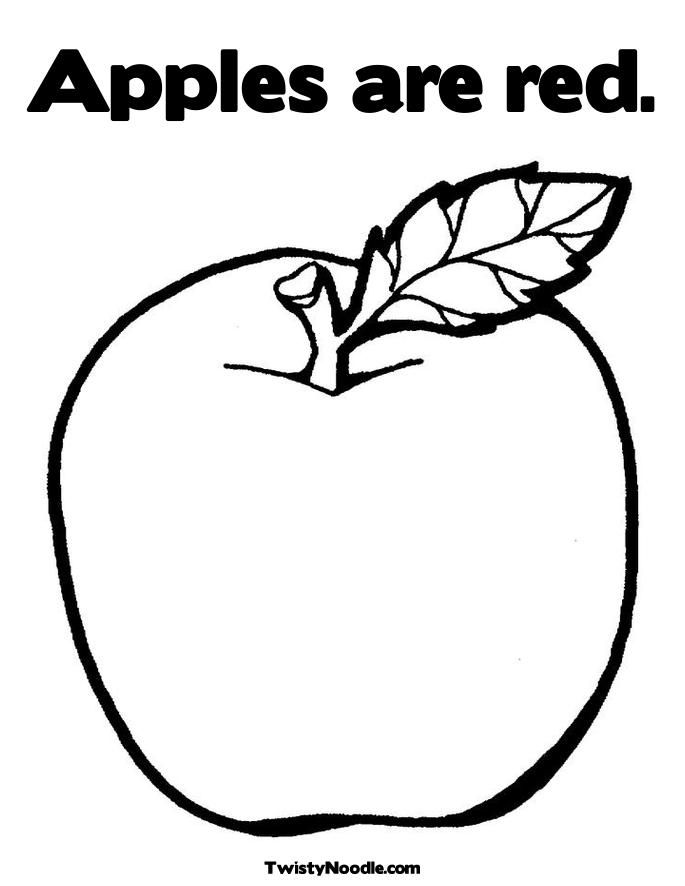 Red Apple Coloring Page Apple Coloring Pages Apple Coloring