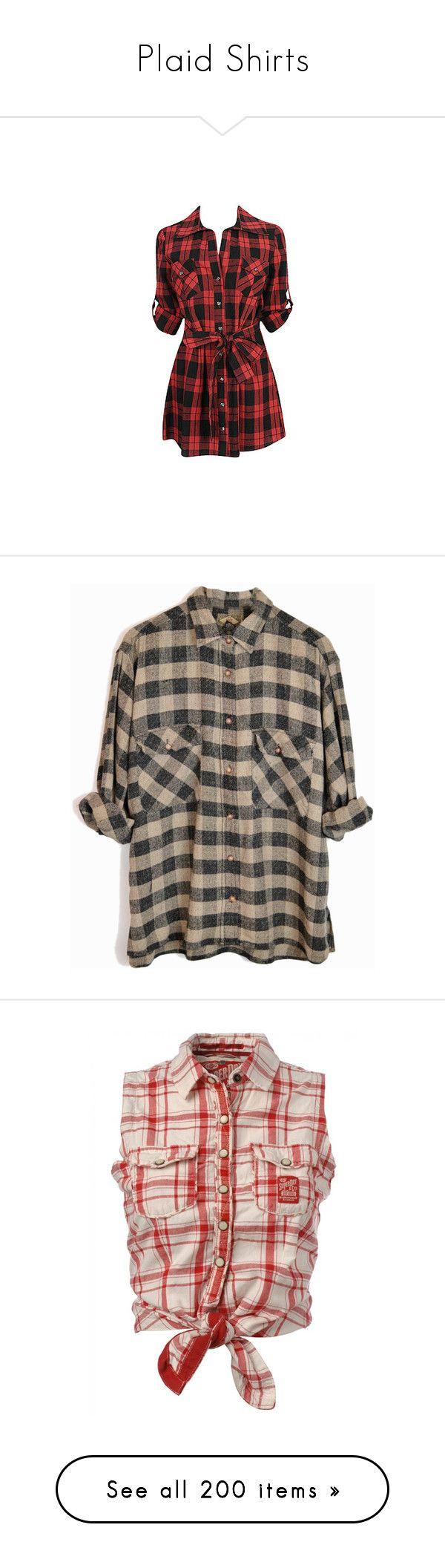 """Plaid Shirts"" by chell-p ❤ liked on Polyvore featuring plaid, shirts, tops, tunics, dresses, vestidos, blusas, plaid top, tartan shirt and red plaid shirt"