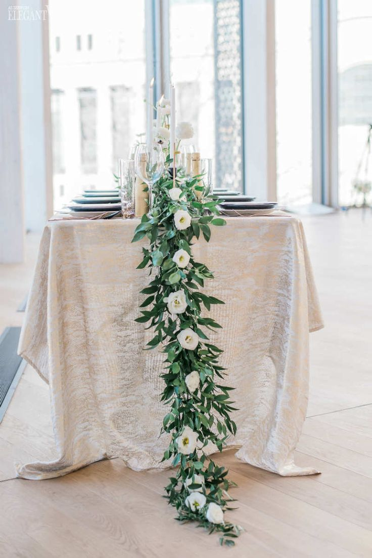 Cascading Greenery Runner, Green and Gold Table Setting, Greenery Tablescape | Glam New Year's Eve Wedding Ideas | ElegantWedding.ca