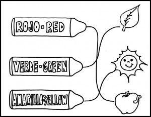 Colorea cada objeto con el el color indicado y une cada nombre con el objeto.