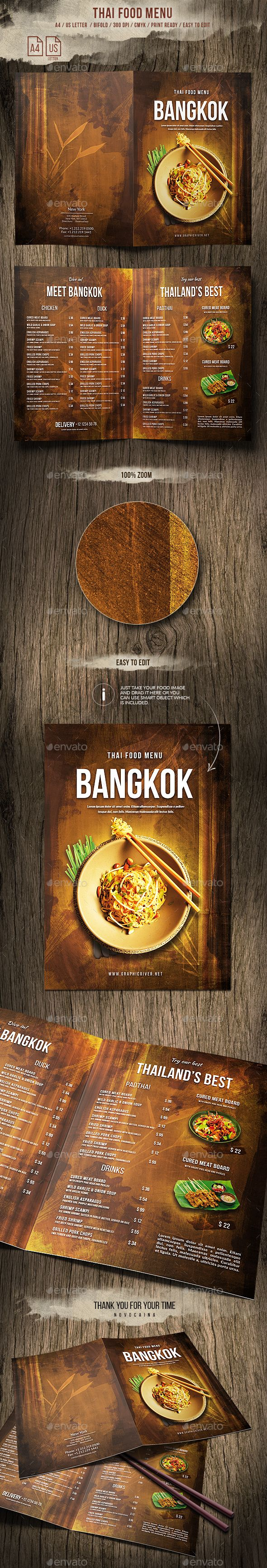 Thai A4 and US Letter Bifold #Food #Menu - Food Menus Print Templates Download here: https://graphicriver.net/item/thai-a4-and-us-letter-bifold-food-menu/20009525?ref=alena994