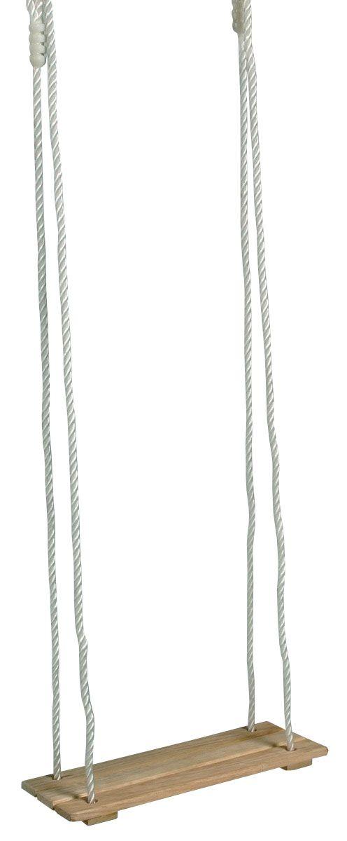 Brettschaukel. Eine klassische Kinderschaukel für Drinnen und Draußen perfektioniert den eigenen Spielplatz. Großen Spaß und wilde Schaukeleien garantiert diese hochwertige Holzschaukel. Die Seile sind höhenverstellbar, sodass die Schaukel für jedes Kind, egal ob groß oder klein, geeignet ist. Maße des Holzsspielzeugs: ca. 40 x 14 x 145 cm