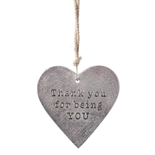 """Embossed in raised letters with the words """"Thank you for being YOU"""", show a loved one how much you care this Valentine's Day with this beautiful Hanging Heart."""