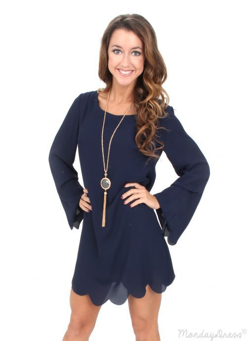 Hey Pretty Girl Navy Scalloped Shift Dress