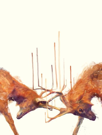 Stags // Strong Art Print by Amy Hamilton | Society6