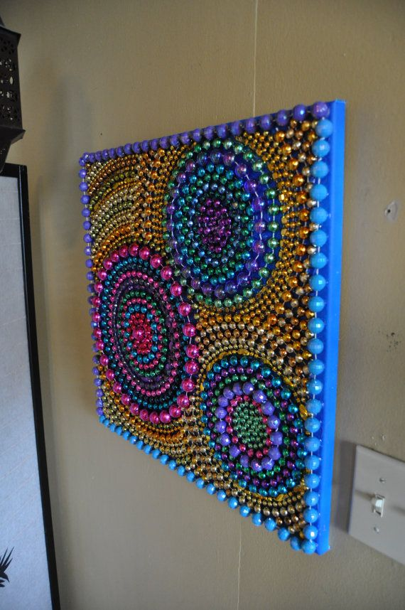 Recycled Mardi Gras Bead Art Wall Decoration by BeadsByEric