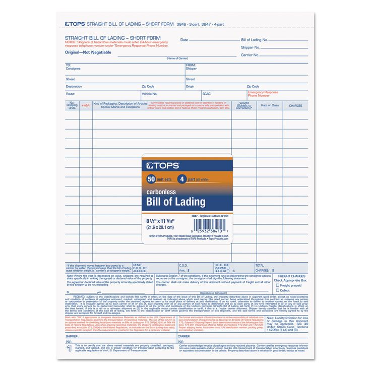 TOPS Bill of Lading 16-Line 8-1\/2 x 11 Four-Part Carbonless 50 - bill of lading forms