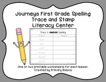 Students trace and stamp their weekly spelling words in these printable worksheets for Journeys First Grade Reading Curriculum. No prep. Just print and set out with small stamps and you have a hands on weekly literacy center. One or two worksheets per lesson for all 30 lessons, depending on the number of words.More Journeys First Grade Literacy CentersJourneys First Grade Words to Know Roll and WriteJourneys First Grade Spelling Roll and WriteJourneys First Grade Trace and Stamp Words to…
