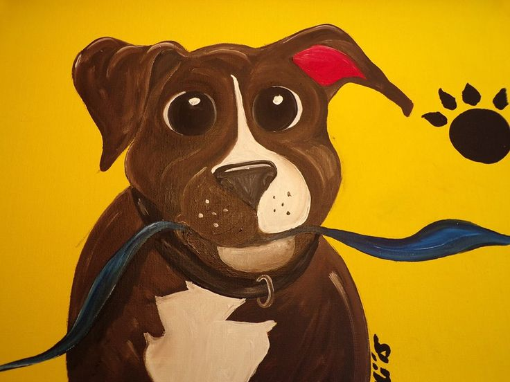 Puppy pawprint Staffy with ribbon. Oil on canvas 30cm x 40cm £25.00 + £3.50 P&P
