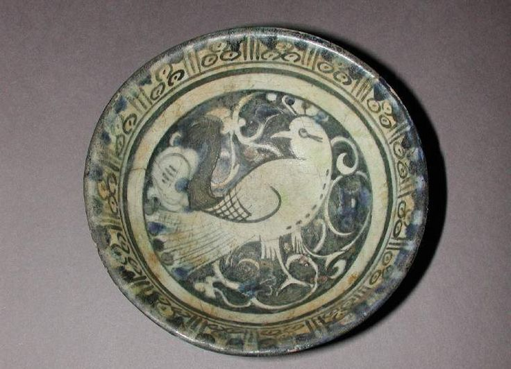 Maker(s) & Production: Unknown, potter, Syria  Collection: Frank Brangwyn Collection  Category: fritware (stonepaste)  Name(s): bowl Islamic pottery; category underglaze painted ware; category  Date: circa 1150 — circa 1220  School/Style: Ayyubid  Period: late 12th or early 13th century