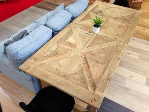 Rustic style Nantucket table, with parquet top. http://www.shopspecnet.com.au/furniture/kfh100-39-nantucket-table/pid/60/32 #nantucket #rustic #style #table