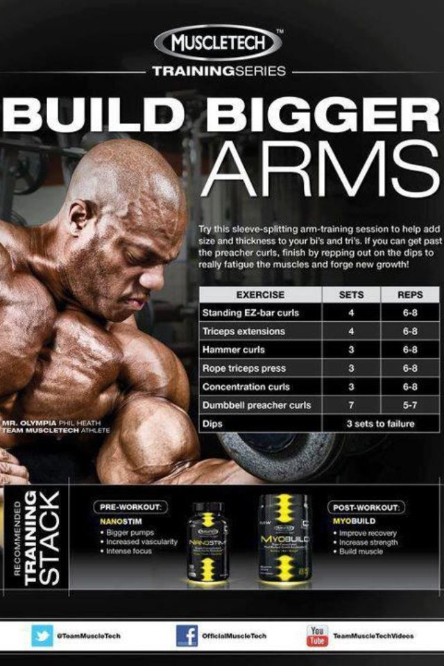 Phil Heath's arm regimen-Build Big Biceps? Strong Arms And Solid Triceps? http://www.be-warrior.us/2013/05/build-big-biceps-strong-arms-and-solid.html https://www.theironden.com