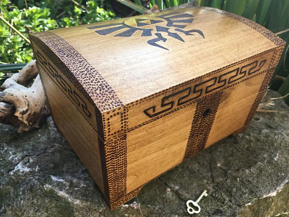 Legend of Zelda inspired chest, lockable keepsake box, zelda fan, ocarina of time, gift for gamer