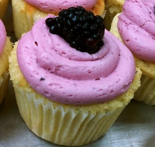 key lime cupcakes with blackberry filling and frosting