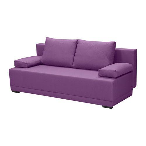 IKEA - ARVIKEN, Sofa trzyosobowa rozkładana, liliowy, , Można łatwo zmienić w łóżko.W miejscu do przechowywania pod siedziskiem zmieści się na przykład pościel.