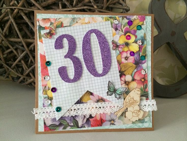 Dovecraft Bohemian floral 30th Birthday Card made by Claire
