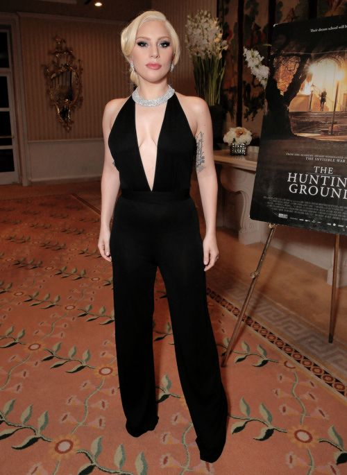 Lady Gaga attends a screening and reception at The Peninsula Beverly Hills Of The Documentary 'THE HUNTING GROUND' on January 5, 2016 in Beverly Hills, California.